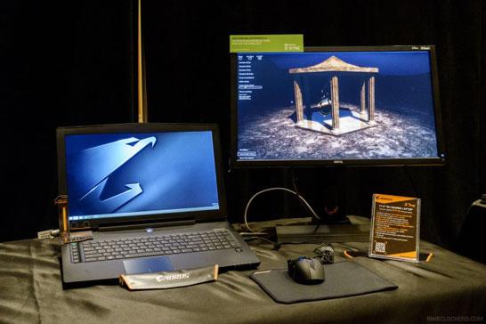 Демонстрационный стенд с ноутбуком, условно поддерживающим технологию NVIDIA G-Sync