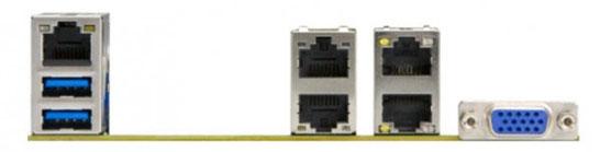 Плата Supermicro X10SDV-TLN4F: вид со стороны разъёмов