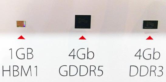 Сравнение размеров кристаллов для памяти HBM и актуальных микросхем памяти GDDR5  и DDR3
