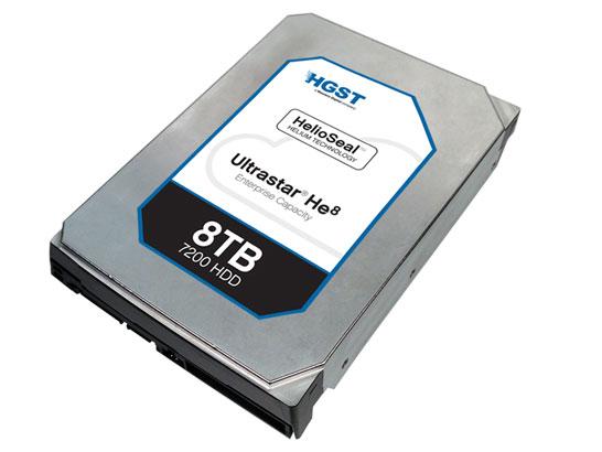 Жёсткий диск HGST ёмкостью 8 ТБ на семи магнитных пластинах в гелиевой среде