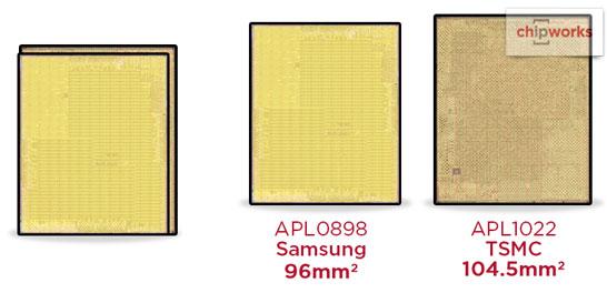 Сравнение площади кристалла SoC Apple A9 производства Samsung и TSMC