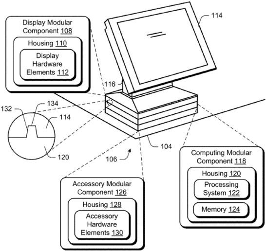 Рисунок из патента Microsoft на модульный ПК
