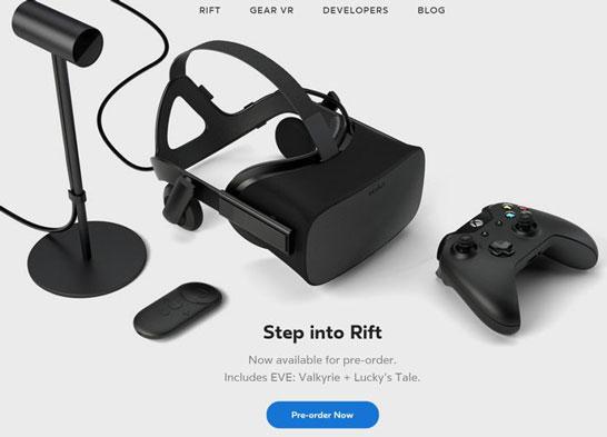 Копия экрана со странички для заказа шлема Oculus Rift