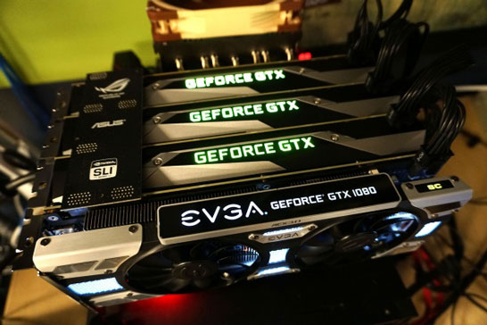 NVIDIA 4-Way SLI эпохи Pascal: двое работало, двое рядом стояло