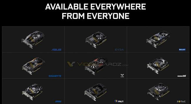 Перечень партнёров NVIDIA, подготовивших свои версии видеокарт GeForce GTX 1050 и GeForce GTX 1050 Ti (источник VideoCardz)