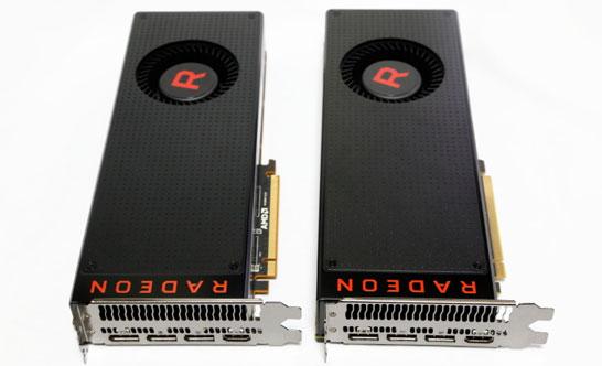Эталонный дизайн видеокарт Radeon Vega RX 64 (слева) и Radeon Vega RX 56 (справа) абсолютно идентичен
