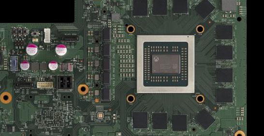 SoC Scorpio Engine на плате в окружении микросхем GDDR5