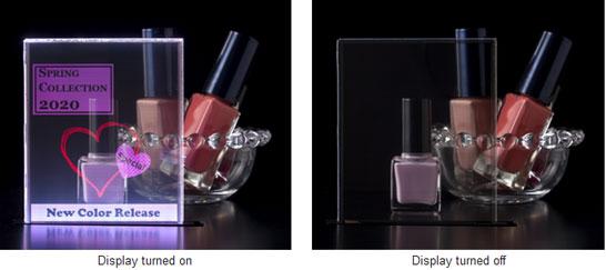 Пример использования в рекламе и торговле прозрачного OLED-экрана (4-дюймовый прототип)