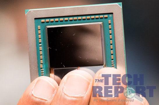 Вот так выглядит подложка с процессором Vega и двумя стеками HBM2 (Tech Report)