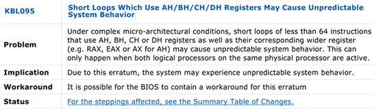 Выдержка из документа Intel с описанием ошибок в процессорах Skylake
