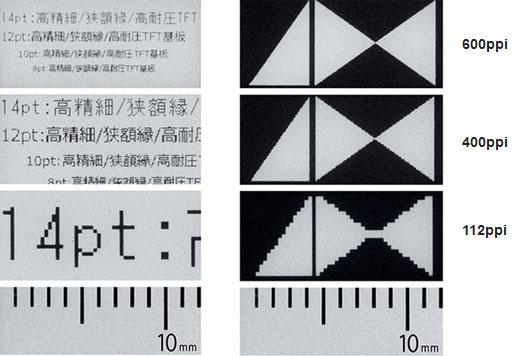 Пример изображения на экранах E Ink в зависимости от разрешения