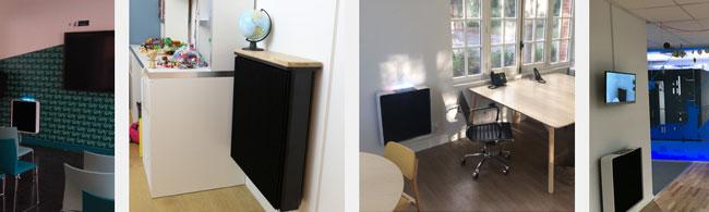 Электрический обогреватель Qarnot Q.rad в домашнем и офисном интерьере